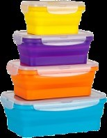 Collapsable Silicone Containers. Save up to 60% of your cabinet/Refridgerator space because they can collapse down when you store them!