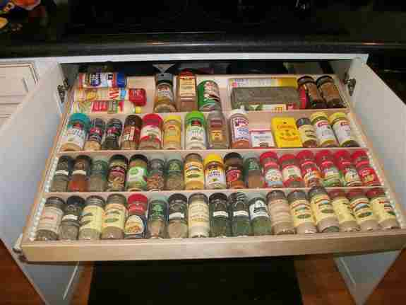 A tidy and organized spice rack makes it easy to find and use the correct spice while cooking.