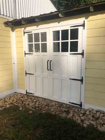 """Take a look at these custom built swing doors that John C installed. These doors were designed and built in house.  The doors are 72""""X 80"""" in size. The door has a lower 6 panel shaker design and rectangular glass with 6 lite grids. The entire exterior is"""