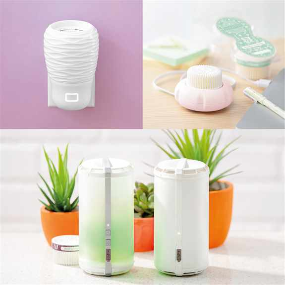 Scentsy Wall Fan diffuser plugs into your wall comes in 4 styles priced at $25-$30.<br />Scentsy Mini Fan diffuser comes in 3 colors and plugs into any USB port priced at $15.<br />Scentsy Go Solid (no light)$35 or Scentsy Go $50-both are battery operated