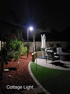 Cottage Light - No wiring needed for this beautiful solar powered pole light. Light includes 4 lithium-ion batteries which are charged by 6 high powered solar panels.