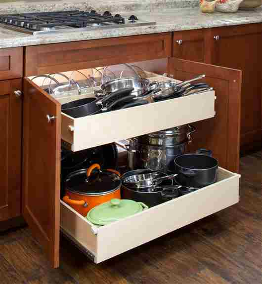 Double height shelves are the perfect solution for larger items such as pots, cleaning supplies, and counter top appliances.